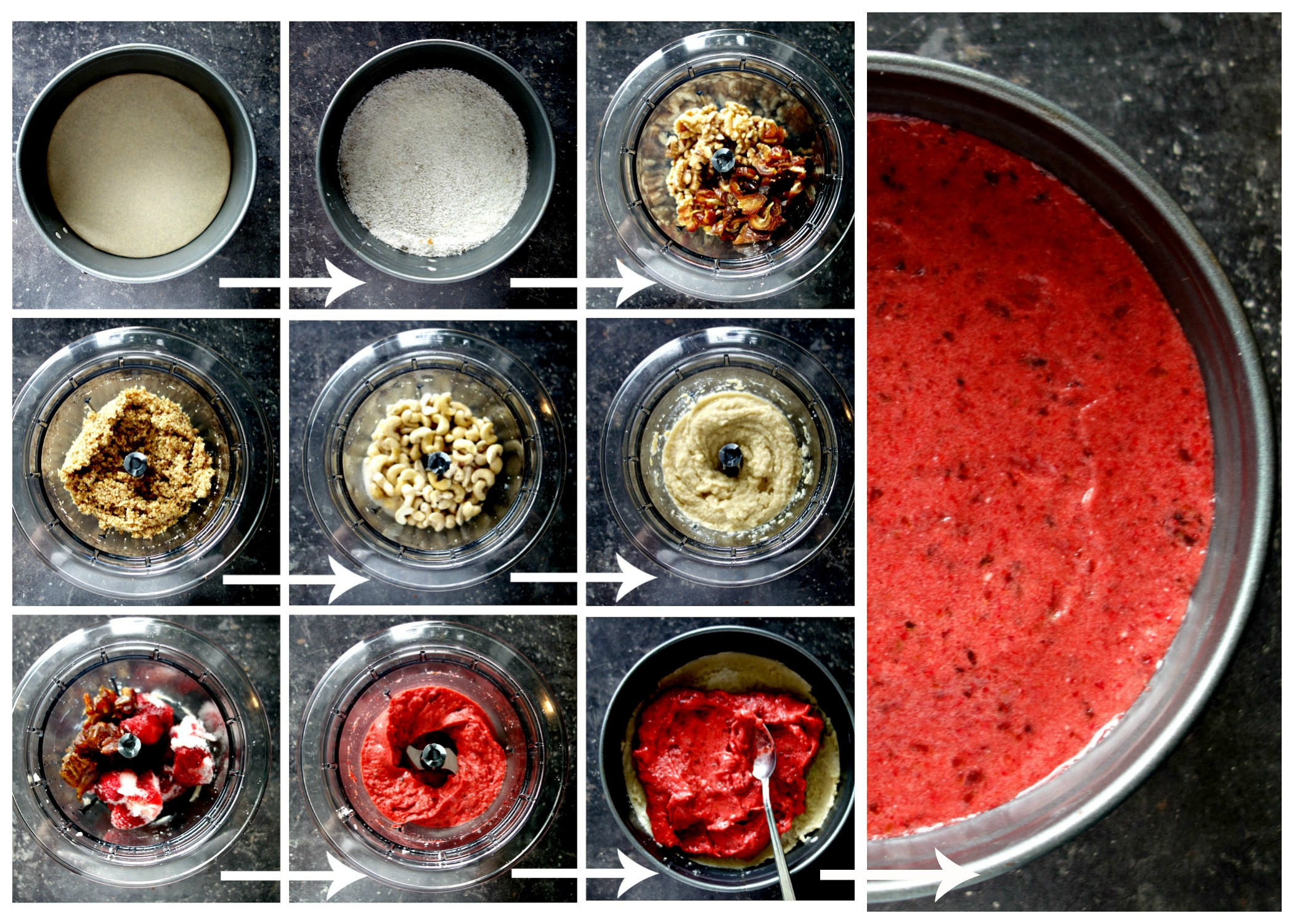 collage recept raw cheesecake