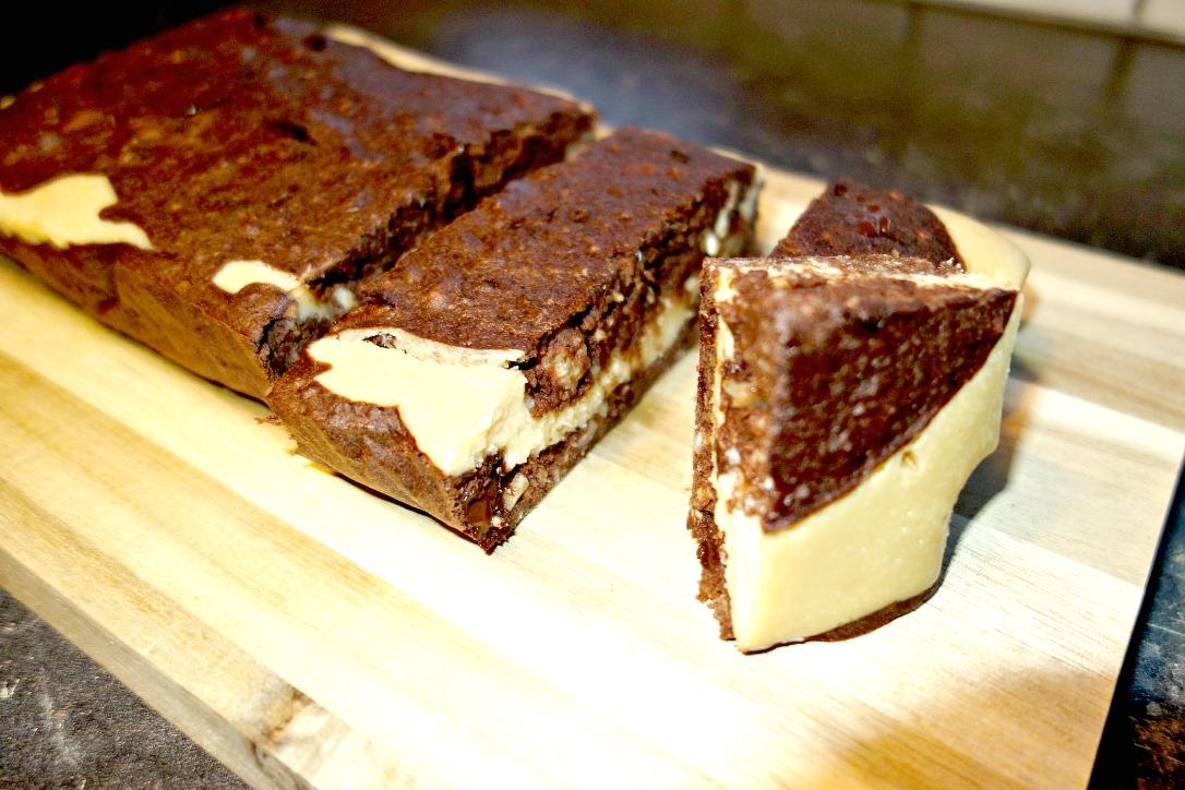 Brownie, Cheesecake, vulliing, zonder suiker