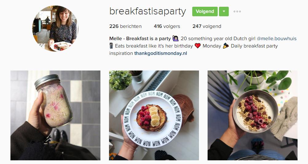 breakfastisaparty, Foodies op instagram