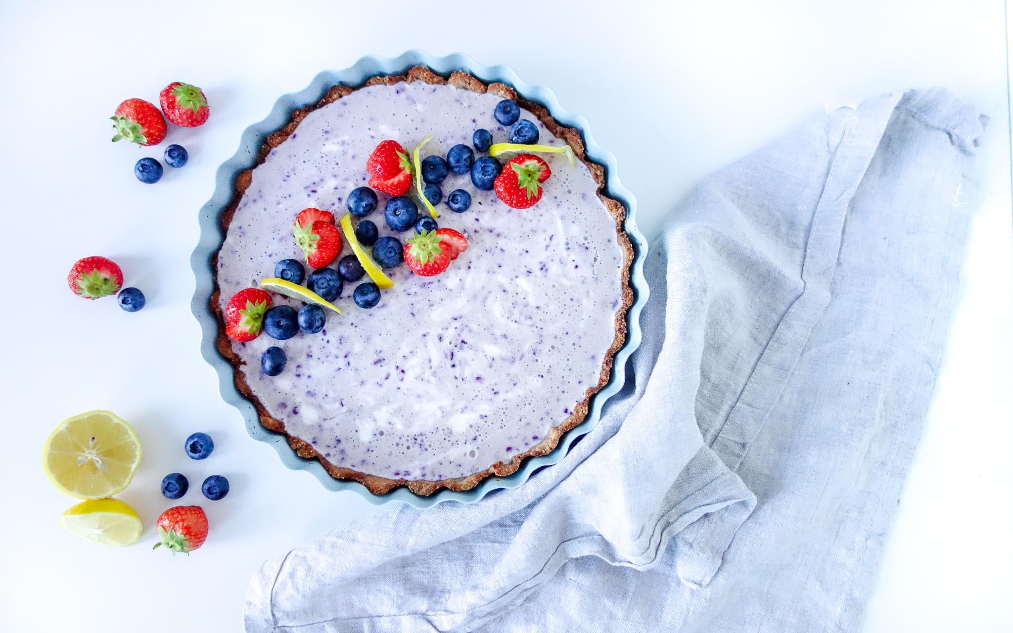 Gezonde yoghurt blueberry taart